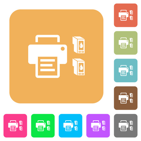 Printer and ink cartridges flat icons on rounded square vivid color backgrounds.