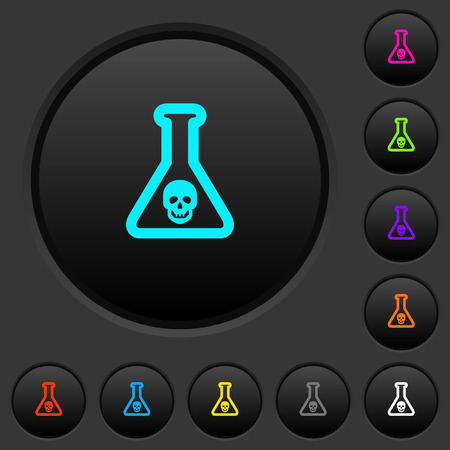 Dangerous chemical experiment dark push buttons with vivid color icons on dark grey background Ilustrace