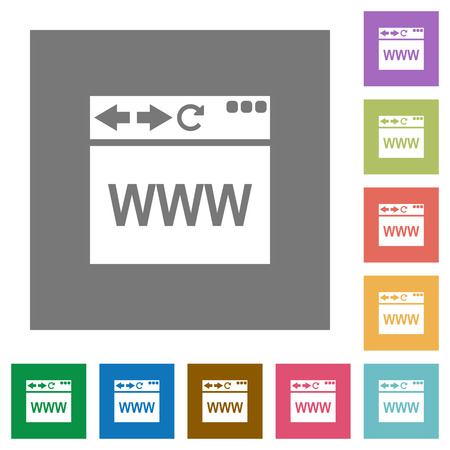Browser webpage flat icons on simple color square backgrounds