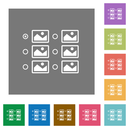 Single image selection with radio buttons flat icons on simple color square backgrounds