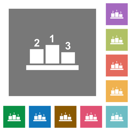 Winners podium with outside numbers flat icons on simple color square backgrounds Ilustrace