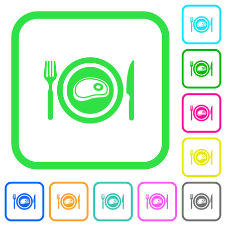 Steak for lunch vivid colored flat icons in curved borders on white background