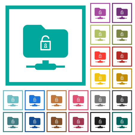 FTP unlock flat color icons with quadrant frames on white background Illustration