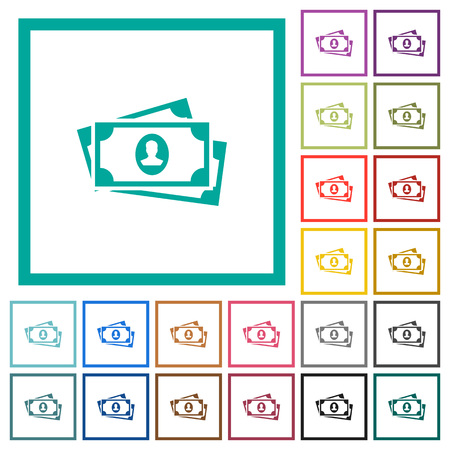 More banknotes with portrait flat color icons with quadrant frames on white background  イラスト・ベクター素材