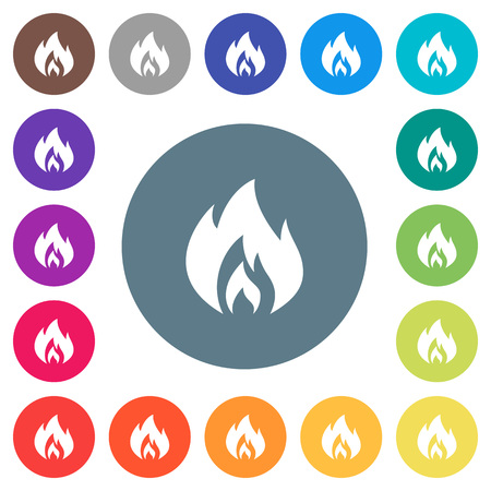 Flame flat white icons on round color backgrounds. 17 background color variations are included. Illustration