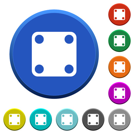 Domino four round color beveled buttons with smooth surfaces and flat white icons