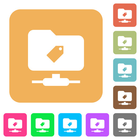 FTP tag flat icons on rounded square vivid color backgrounds.