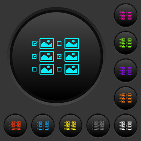 Multiple image selection with checkboxes dark push buttons with vivid color icons on dark grey background