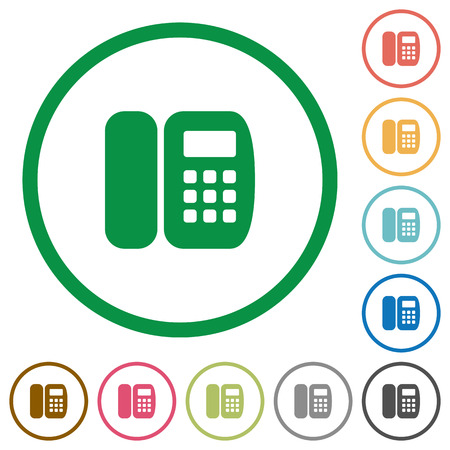 Office phone flat color icons in round outlines on white background