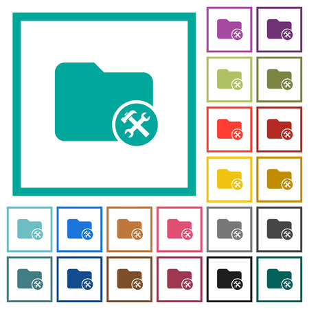 Directory tools flat color icons with quadrant frames on white background