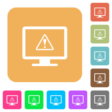 Display warning flat icons on rounded square vivid color backgrounds.