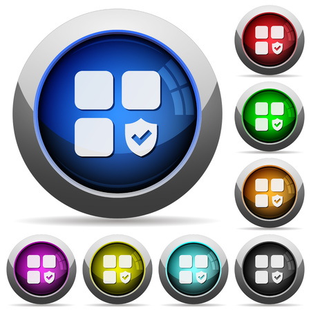 Protected component icons in round glossy buttons with steel frames