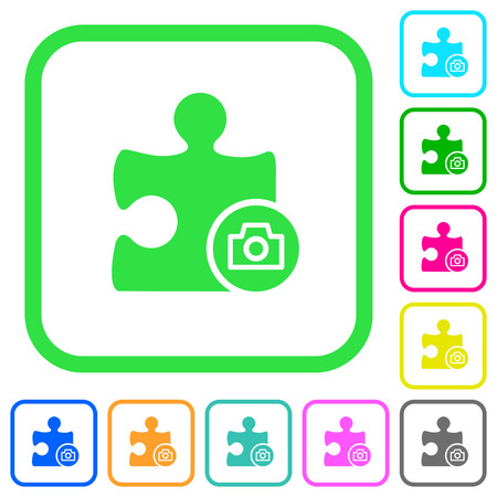 Camera plugin vivid colored flat icons in curved borders on white background