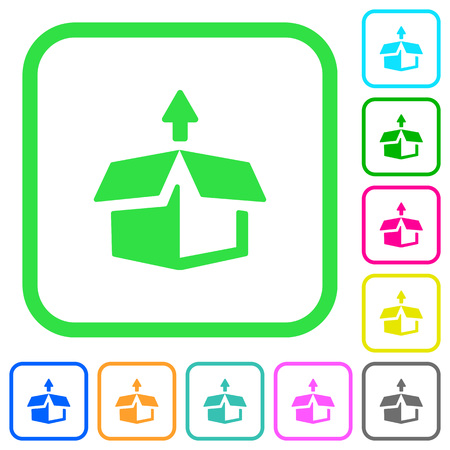 Unpack from box vivid colored flat icons in curved borders on white background