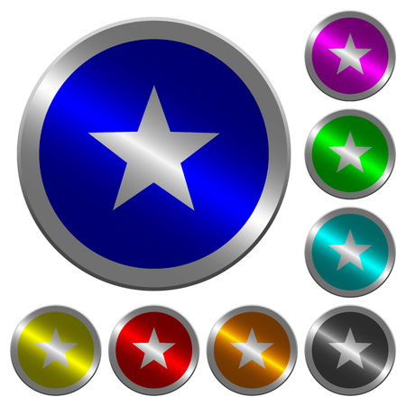 Favorite icons on round luminous coin-like color steel buttons 일러스트