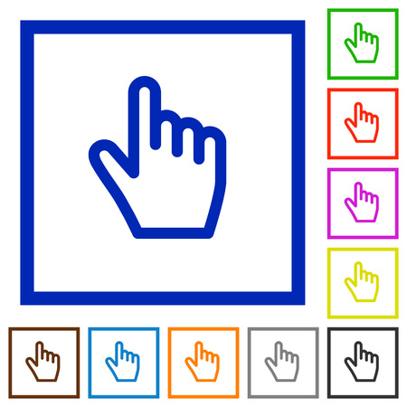 Hand cursor flat color icons in square frames on white background Stock Illustratie