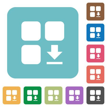 Download component white flat icons on color rounded square backgrounds Illusztráció