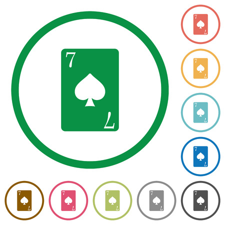 Seven of spades card flat color icons in round outlines on white background Vektorové ilustrace