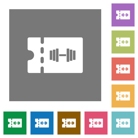Gym discount coupon flat icons on simple color square backgrounds