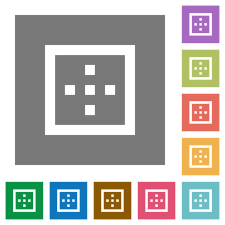 Outer borders flat icons on simple color square backgrounds Illustration