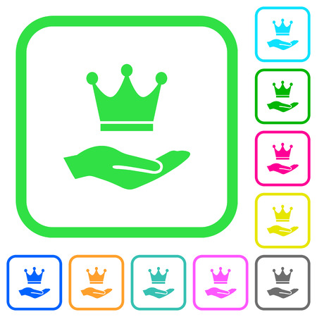 Premium services vivid colored flat icons in curved borders on white background