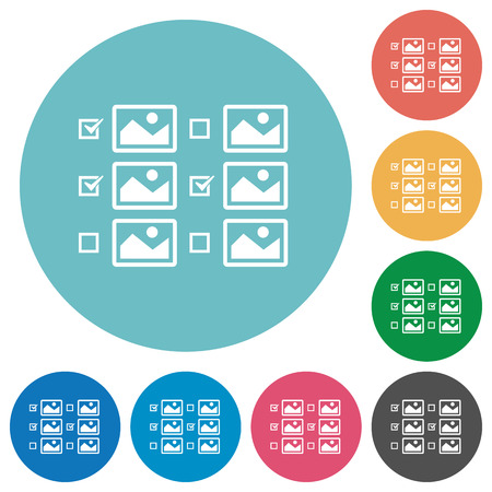 Multiple image selection with checkboxes flat white icons on round color backgrounds Illustration