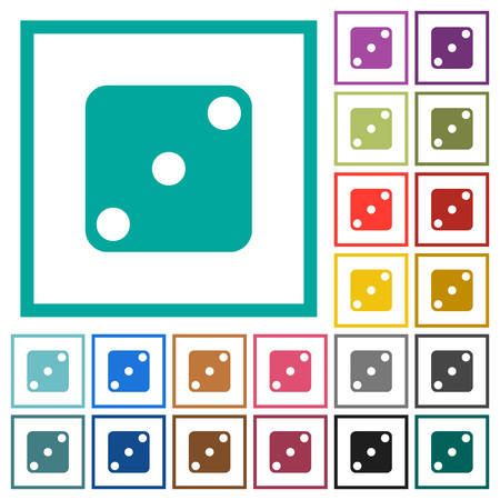 Domino three flat color icons with quadrant frames on white background Vectores
