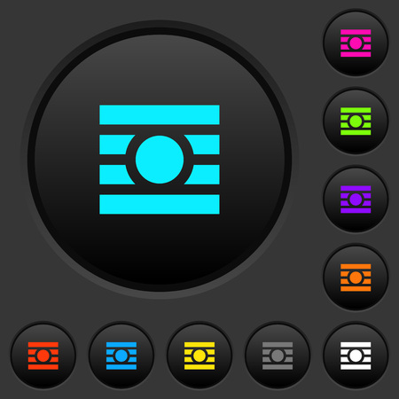 Text wrap around objects dark push buttons with vivid color icons on dark grey background Ilustração