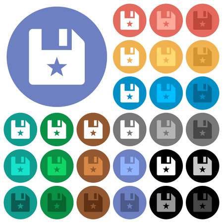 Marked file multi colored flat icons on round backgrounds. Included white, light and dark icon variations for hover and active status effects, and bonus shades.