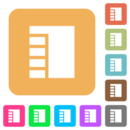Vertical tabbed layout active flat icons on rounded square vivid color backgrounds.