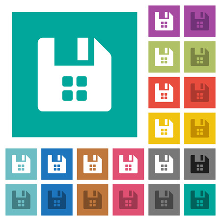 File components multi colored flat icons on plain square backgrounds. Included white and darker icon variations for hover or active effects.
