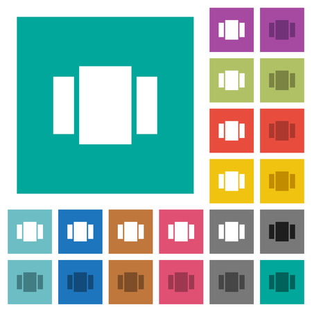 View carousel multi colored flat icons on plain square backgrounds. Included white and darker icon variations for hover or active effects.