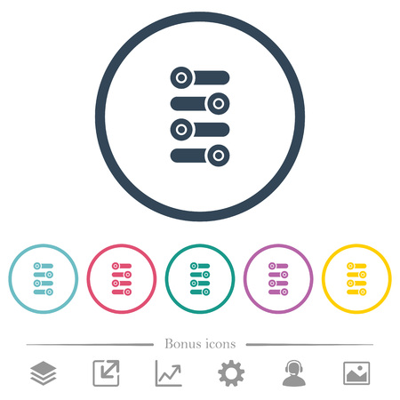 Fine tune flat color icons in round outlines. 6 bonus icons included. Illustration