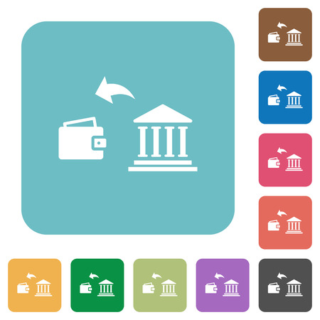 Money withdrawal from bank white flat icons on color rounded square backgrounds