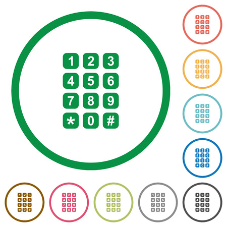 Numeric keypad flat color icons in round outlines on white background