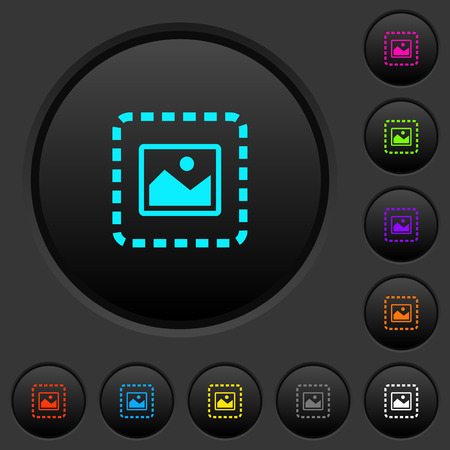 Place image dark push buttons with vivid color icons on dark grey background Stock Illustratie