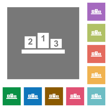 Winners podium with inside numbers flat icons on simple color square backgrounds