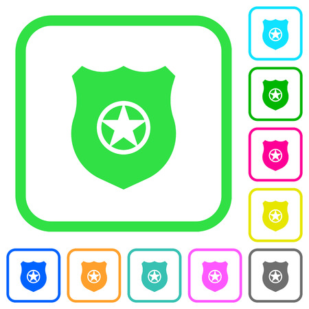 Police badge vivid colored flat icons in curved borders on white background
