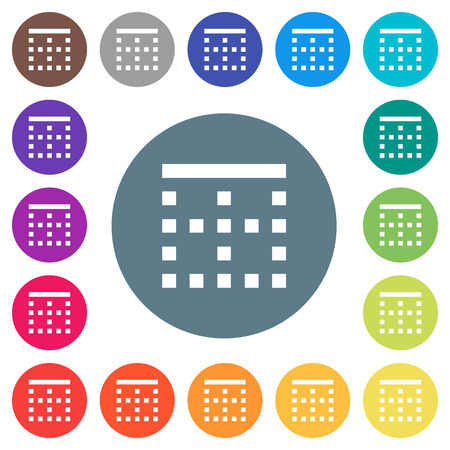 Top border flat white icons on round color backgrounds. 17 background color variations are included. Illustration