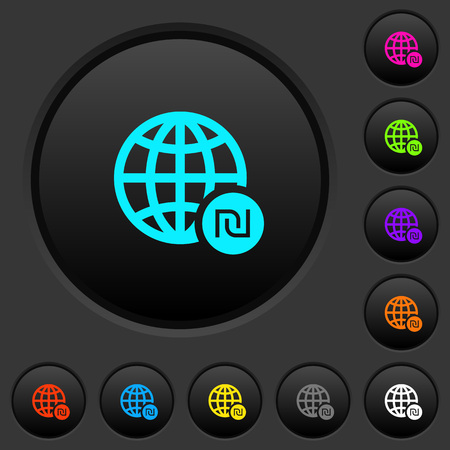 Online Shekel payment dark push buttons with vivid color icons on dark grey background