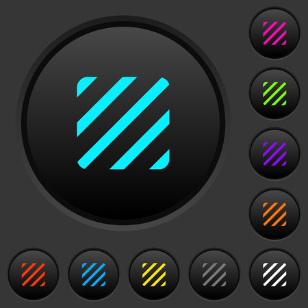 Texture dark push buttons with vivid color icons on dark grey background 向量圖像