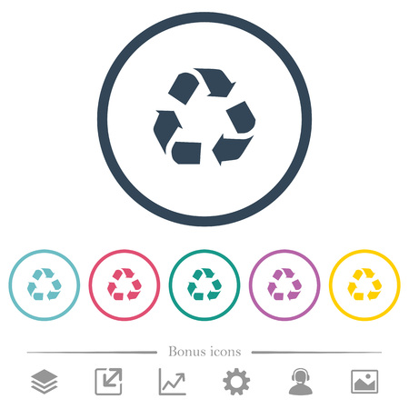 Recycling flat color icons in round outlines. 6 bonus icons included. Illusztráció