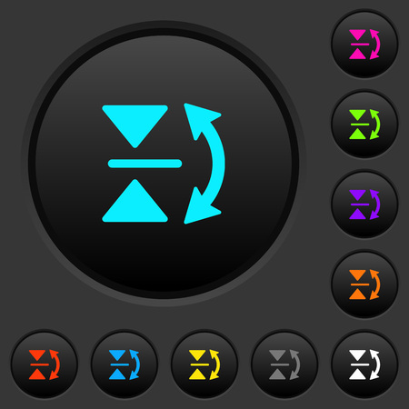 Vertical flip dark push buttons with vivid color icons on dark grey background
