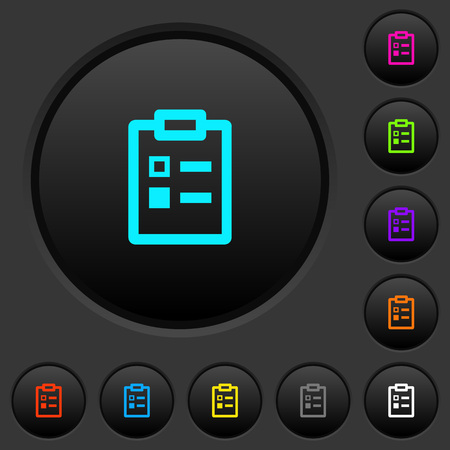 Survey dark push buttons with vivid color icons on dark grey background