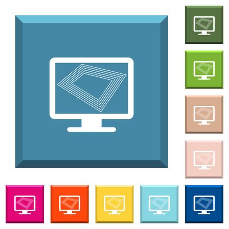 Protector de pantalla en el monitor Iconos blancos en botones cuadrados con bordes en varios colores de moda