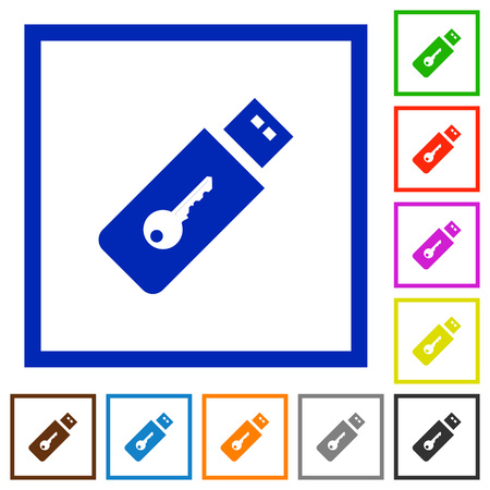 Hardware key flat color icons in square frames on white background