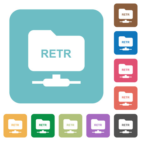 FTP retrieve file white flat icons on color rounded square backgrounds