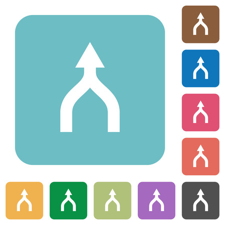 Merge arrows up white flat icons on color rounded square backgrounds