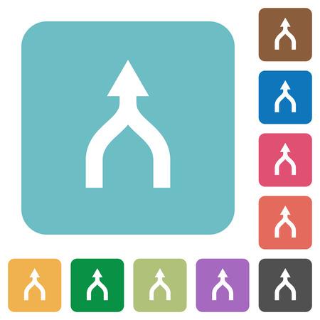 Unisci le frecce sulle icone piatte bianche su sfondi quadrati arrotondati di colore