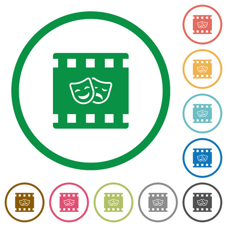 Theatrical movie flat color icons in round outlines on white background Illustration